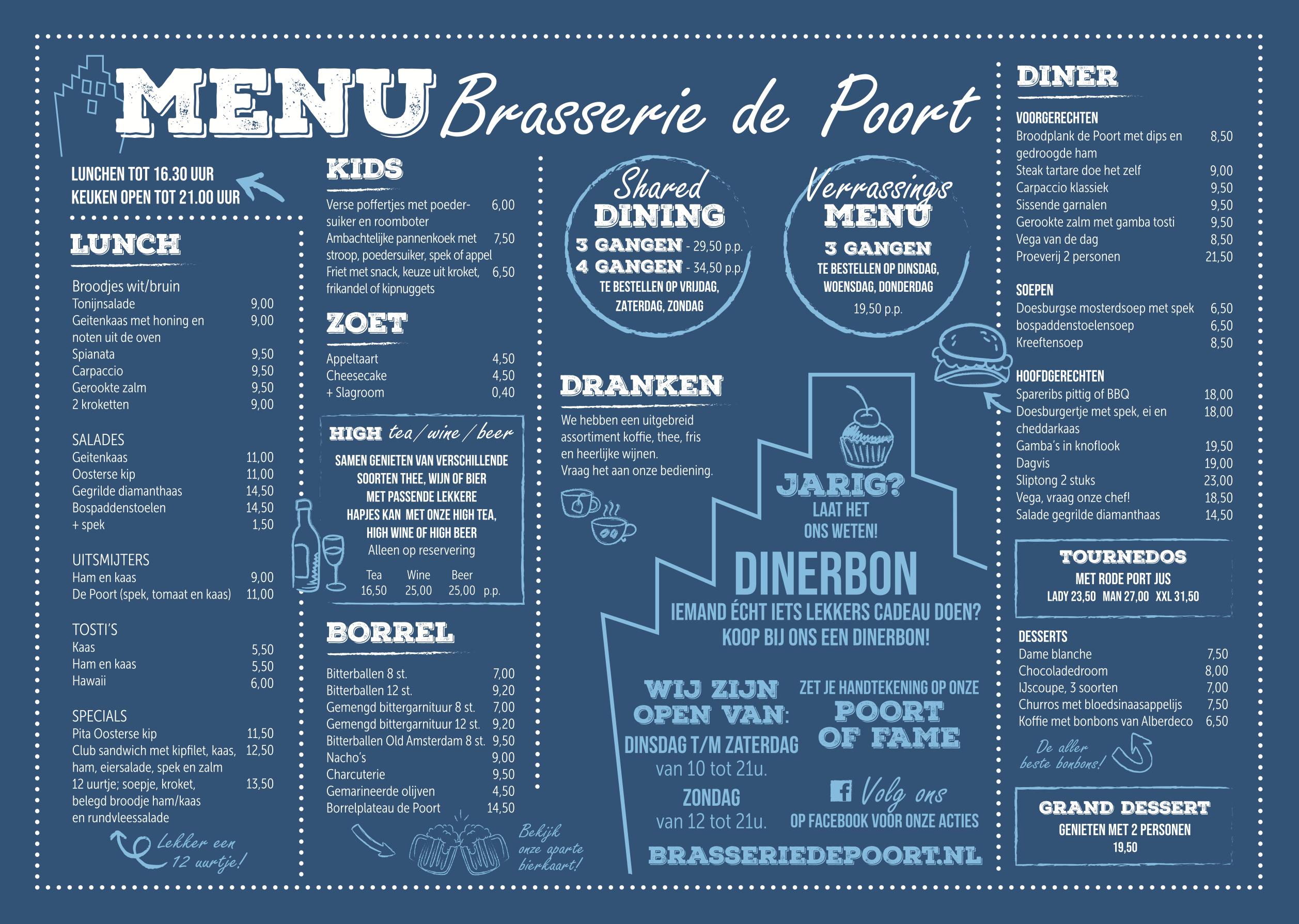 menu brasserie de poort doesburg